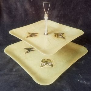 True vintage cute tea tray with butterflies 1960s